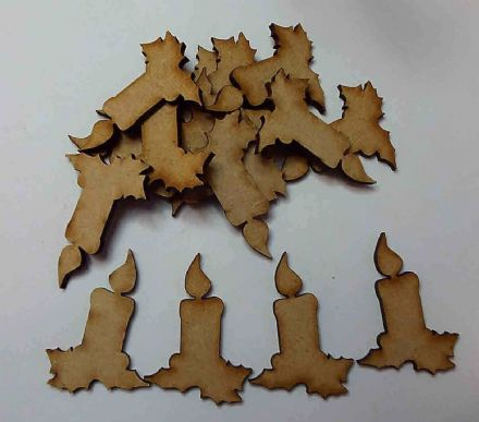wooden craft xmas/ christmas candle shapes, laser cut 3mm mdf embellishments